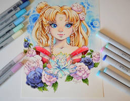 Floral Sailor Moon by Lighane