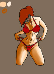 Self wedgie Girl bikini vector ink 10-15-12 by MouseG32