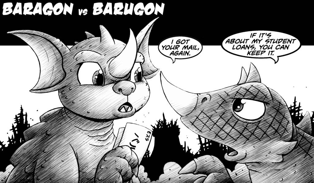 Baragon vs Barugon by drakefenwick