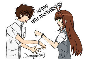 Sakura and Syaoran handcuffed by Draugurok