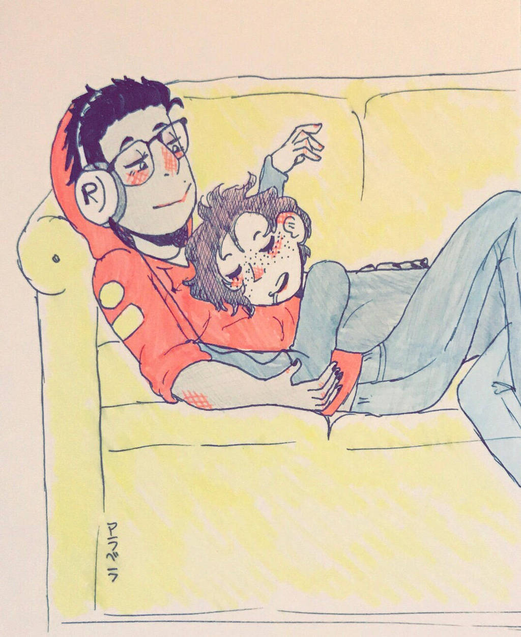 Couch cuddles  by ArabellatheYaoiOtaku