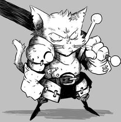 Inktober 6: A Kitty And His Sword by lorenzolamass