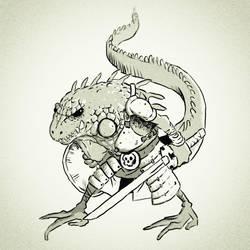 Battle Iguana  by lorenzolamass