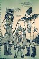 inktober touhou day7: Reimu/Marisa/Aunn by kagura-chan-otaku