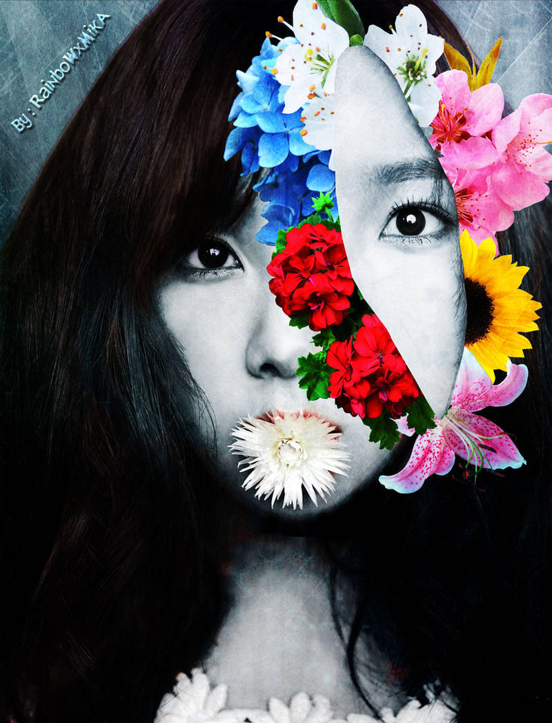 Taeyeon - Retrato Floral Surrealista (Black ver.) by RainboWxMikA