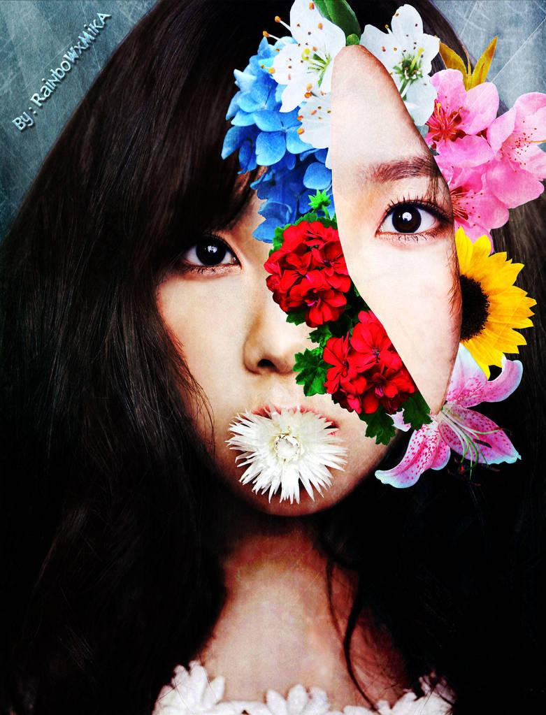 Taeyeon - Retrato Floral Surrealista (Colour ver.) by RainboWxMikA