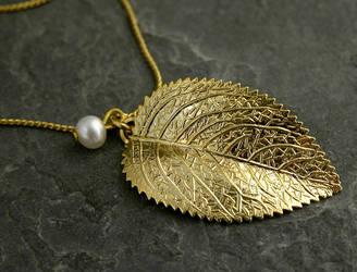 Raywood Gold Leaf Pendant by gazellejewelry