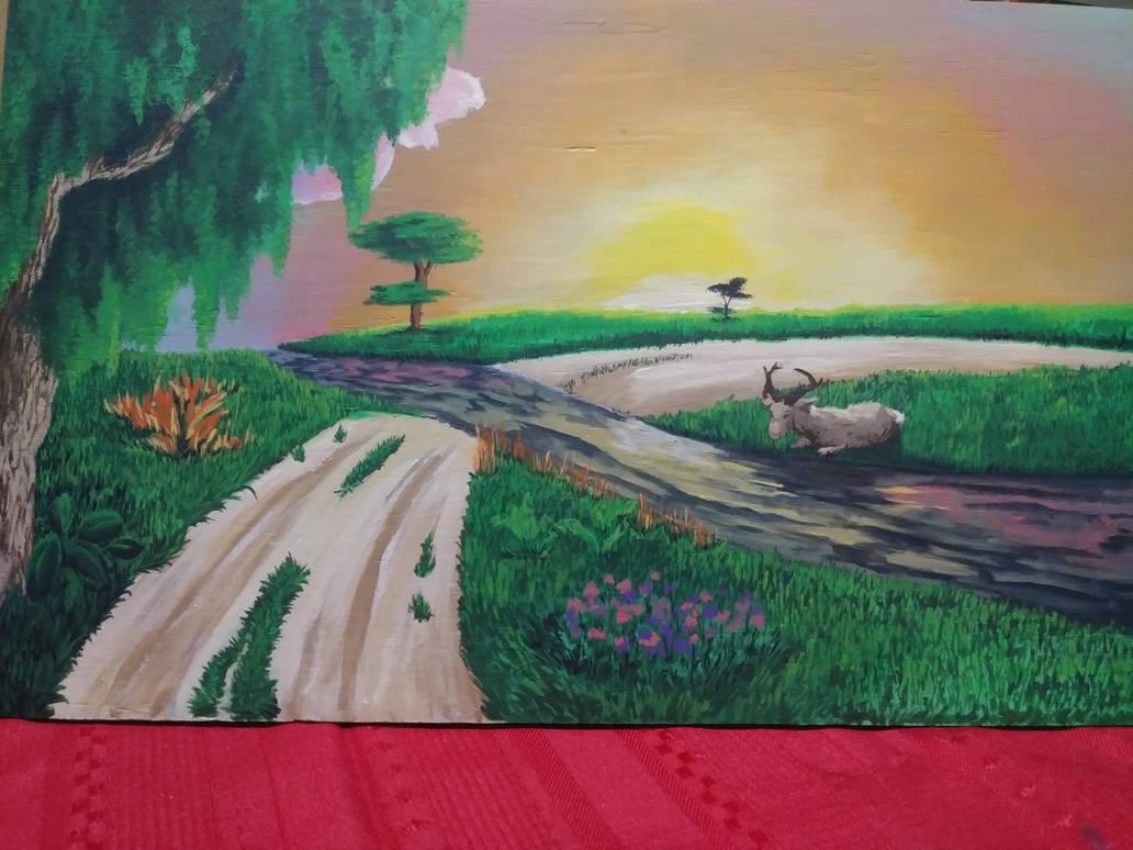 Deer by the river by BlackCatStudiosArt