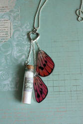 Fairy Dust Vial with Pink Fairy wings by purpleravenwings