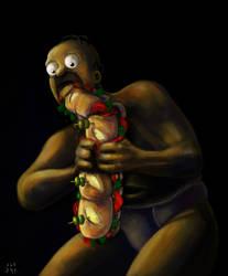Homer Devouring a Sandwich (Goya's paint parody) by ugoyak
