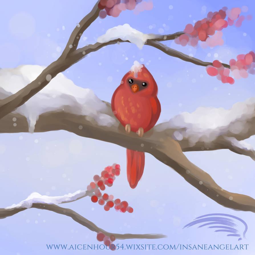 Snowy Cardnial by InsaneAngelArt
