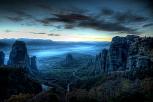 Dusk At Meteora by Piddling