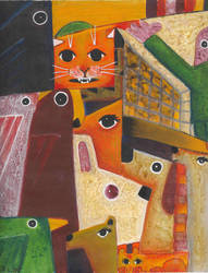 2 Gatos Sueltos - 2 Loose Cats by aztlanwayne