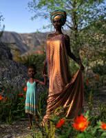 Uchenna and Child by Vampyric-Saiyaness