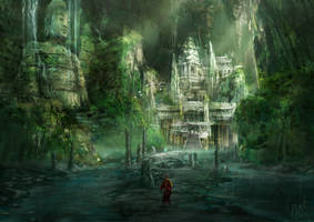 Ancient Cavern City Mattepainting by Ice-wolf-elemental