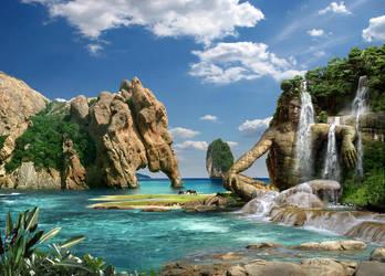 Waterfalls Ocean by HansPeterKolb
