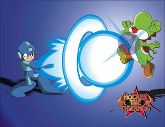 Super smash bros Megaman Vs Yoshi by shockersthetigerhog
