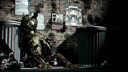 Springtrap In the Ally in 3D by Cosmicmoonshine