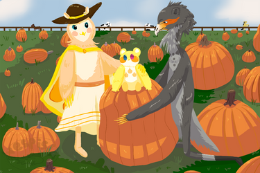 Picking the Best Pumpkin Together by Vespisia