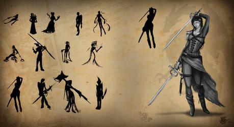 Model Sheet - Female warrior by DragonaTodd