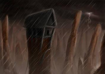 Temple and rain by DragonaTodd