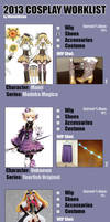 2013 Cosplay Worklist by Shironotenshi