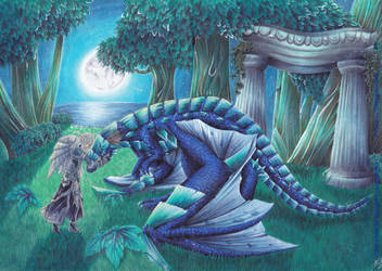 Nightelf and protdragon by GinHaneYoake