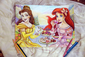 tea party (Belle and Ariel)  WIP by Alena-Koshkar
