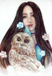 The girl with the owl (Wip) by Alena-Koshkar