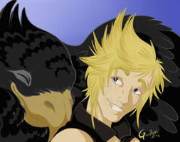 -Final Fantasy 15- Prompto and the Black Chocobo by Godspoison