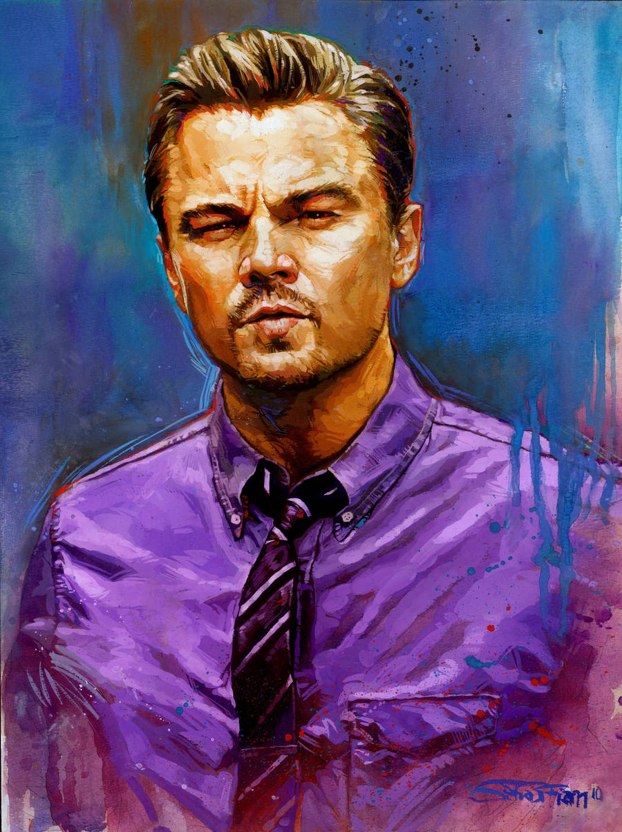 Leonardo Dicaprio Gouache painting by sebastiancheng