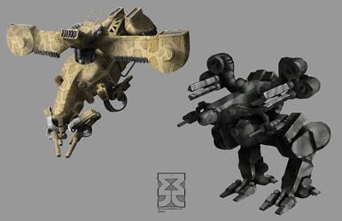 Portfolio Gunship and Mech by Legato895