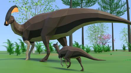 Parasaurolophus In Low Poly by kuzim