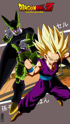 Cell and Gohan by adb3388