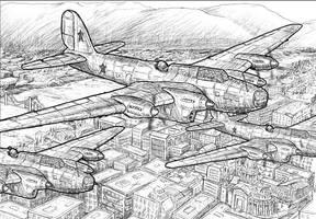 WW2 Bomber over Budapest by dczanik