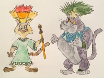 Vinnie and Viola in Ancient Aztec by CartoonLovingFeline