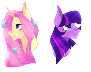 G5 Characters| Twilight and Fluttershy by waterz-colrxz