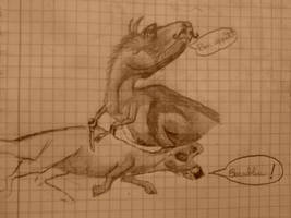 Gorgosaurus y Lambeosaurus by JosefaValdiviaT-Rex