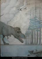 Tyrannosaurus y Troodon by JosefaValdiviaT-Rex