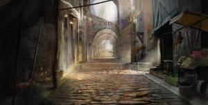 Concepting a medieval street by Gycinn