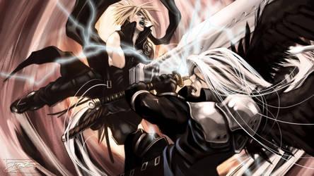 Final Fantasy, Cloud vs Sephiroth by daguillo84