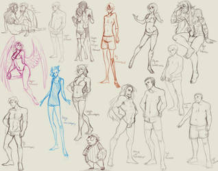 Different body types Character sketches by LibertyMae