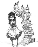 Victorian Girl and owl by Jump-Button