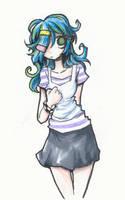 blue hair shy girl by Jump-Button