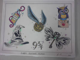 harry potter tattoo flash by blue-lemonade2385