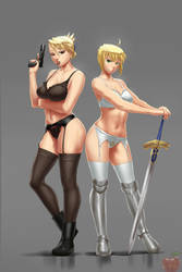 Comm - Riza Hawkeye and Saber by lvlapple
