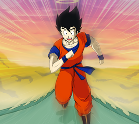 Goku on the Snake road by Laitonite