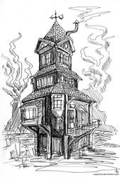 Inktober 2017 #8 Crooked Building-Sketch by Vapolord