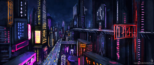 Cityscape- Into The Night World by Vapolord