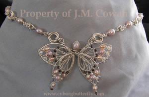 Pink Pearl Butterfly Choker by cyborgbutterfly